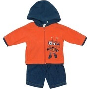 Baby Boy Clothes by Babyworks, Adorable Baby Boy Microfleece Jacket Set with Orange and Navy Hoodie with Cute Robot Applique and Denim Pull-On Pant.  Available in Sizes 0/3, and 3/6 Months.