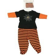 Baby Halloween Costumes by Babyworks - Cute Spider Halloween Costume with Two-Fer Lap Tee With Embroidered and Appliqued Spider, Pull-On Footed Pants and Orange and Black Striped Cap.  Three Piece Set. Available in Sizes 0/3, 3/6 and 6/9 months