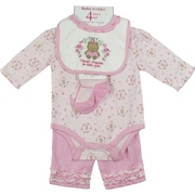 Baby Girl Creepers - Adorable Baby Girl Creeper Set with Pink Bodysuit with Cute Bear and Flower Print, Pink Pull-on Pants with Ruffled Trim, Light Pink Socks with Darker Pink Mary-Jane Look and Appliqued Bib that says Thank Heaven for Little Girls.  So Sweet!  by Babyworks  Available in Sizes 0/3 and 3/6 Months