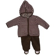 Baby Girl Clothing - Cute Baby Girl Hoodie Set in Soft Microfleece, Hoodie is Brown and Pink Stripe with Brown Pull-on Pants with Pink Cat Applique on Feet.  Super Soft!  Available in Sizes 0/3, 3/6 and 6/9 Months  by Babyworks