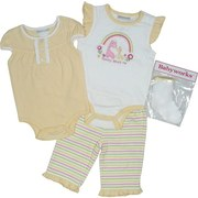 Newborn Girl Sets by Babyworks - Adorable Newborn Girl 4 Piece Pant Set with 2 Creepers (one in Yellow with Ruffle Trim, one with