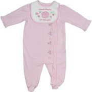Newborn Girl Clothes - Sweet Baby Girl Coverall in Pique Cotton with Dainty Flower and Heart Embroidery and Ruffles on Sleeves and Down Coverall.  Applique and Embroidered Bib with