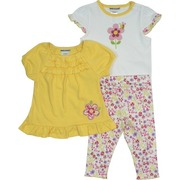 Toddler Girl Clothing by Babyworks - Colorful Toddler Girl 3 Piece Legging Set with Pretty Yellow Ruffled Top with Flower Applique and Embroidery, Tee with Sparkly Flower and Bee Transfer and Flowered Leggings.  Too Cute!  Available in Sizes 2T, 3T and 4T