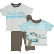 Toddler Boy Clothes by Babyworks - Cute Toddler Boy 3 Piece Pant Set with Extensive Little Monkey Transfer and Embroidery on Tee Shirt,  Ivory Tee with Ribbed Neck and 3 Button Closure and Pull-on Pants.  Available in Sizes 2T, 3T and 4T.  Great for Back to School!