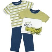 Toddler Boy Clothes by Babyworks - Bright Toddler Boy 3 Piece Pant Set with Extensive Croc Applique and Embroidery on Tee Shirt, Striped Tee with Ribbed Neck and 3 Button Closure and Pull-on Pants.  Available in Sizes 2T , 3T.  Great for Back to School!