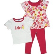 Toddler Girl Clothes by Babyworks - Colorful Toddler Girl 3 Pc. Legging Set with Flowered Swing Top in Fuchsia, Yellow and White, Dainty Tee with