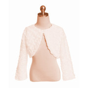 Adorable toddler faux fur swirl bolero (lined) in ivory or slight pink (champagne) hue with a pearlescent button closure to go over holiday and special occasion dresses. Oh, so soft and made in the USA!  Available in sizes 2 and 4.  See also in sizes  6, 8 and 12, 18 and 24 months