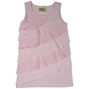 Cute girls tank top with asymmetric ruffles in solid and polka dot rows. Nice and long in 100% cotton.  Available in Sizes 2, 3, 4 in Aqua and Baby Pink. This is Part of a New Mix and Match Collection by Cheeky Smyle.