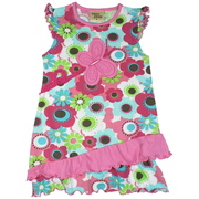 This is a cute Summer dress in blossoms pattern with cap ruffle sleeves, butterfly applique and lettuce hem. The diagonal angle gives it a fun look!  Available in sizes 5, 6, 7 (Also in Toddler 2, 3, 4) in Petal Pink and Yellow Buttercup by Cheeky Smyle