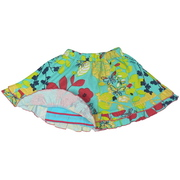 Welcome Summer in this Colorful Skort with Elastic Waist, Ruffled Hem and Attached Striped Shorts.  Vibrant Colors!  Available in Sizes 5, 6 7  (Also in Toddler Girls 2, 3, 4) in Mermaid Blue or Orange Punch.  Pair it with a Top from the Mix and Match Collection by Cheeky Smyle