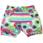 Girls Clearance - Adorable Bloomer Shorts Have Two Side Pockets and One Kangaroo Pocket to Hold all Those Found Treasures!  Vibrant Floral and Striped Pattern. Looks Great Paired with a Cheeky Smyle Top (sold separately).  Available in Sizes 2, 3, 4 in Petal Pink and Buttercup Yellow in fabulously soft cotton from India!