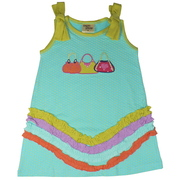 This is an Adorable Tank Dress with Cotton Bows at Shoulders, Purse Appliques and a Rainbow of Colored Trim.  Available in Sizes 5, 6 7 (Also in Toddler 2, 3 4) in Blush Pink and Aqua/Yellow Polka Dot.  This is Part of a New Mix and Match Collection by Cheeky Smyle