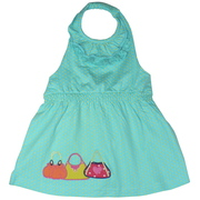 Adorable girls halter top with a lace and ruffle neckline, shirred waist and purse appliques. Available in sizes 5, 6, 7 (Also in Toddler 2, 3, 4) in Blush Pink and Aqua.  This is part of a New Mix and Match Collection by Cheeky Smyle