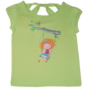 Cutest T-Shirt Ever with Girl on Swing Screen Print and Cut-out Neckline in Back!  Available in Sizes 5, 6, 7 (Also in Toddler) in Lime Green. This is Part of a Mix and Match Collection by Cheeky Smyle