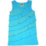 Cute girls tank top with asymmetric ruffles in solid and polka dot rows. Nice and long in 100% cotton.  Available in Sizes 5, 6, 7 in Lake Blue, Lilac (Viola) and Strawberry. This is Part of a New Mix and Match Collection by Cheeky Smyle.