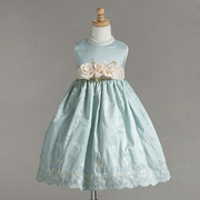 Flower Girl Dresses for Infant Girls in an Antique Aqua Color with Cream and Aqua Embroidered Flowers, Scalloped Hem and Detachable Flowers on Cream Sash that Ties in Back.  Classic!  Available in Sizes 6/9, 12, 18 and 24 months by Crayon Kids