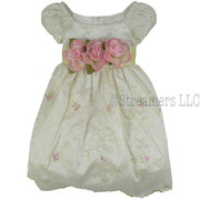 Fancy Dresses for Infant Girls, Vintage Look Infant Girl Dress in Cream with Dainty Pink and White Flowers and Green Leaf Embroidery, Detachable Flowers on Pale Green Sash that Ties in Back.  So Sweet!  Available in Sizes 6/9, 12, 18 and 24 months by Crayon Kids