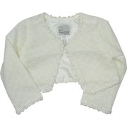 Girls Fancy Sweaters - Adorable Girls Sweater Shrug in Ivory with  Flower Lace Trim and One Button Closure. Lined.  Soft and Beautiful!  Available in Sizes 5/6. Great Addition to any Special Occasion Dress