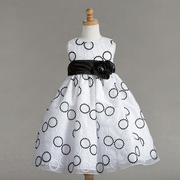 Flower Girl Dresses by Crayon Kids, Cute Dress in Black and White Threaded Circles on White Background, Black Sash with Flower that Ties into a Large Bow in Back. Great for any Occasion! Available in Sizes 7/8, 9/10. (See more sizes in 4-6X and Toddler Girl)