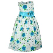 Toddler Girl Dresses - Colorful Toddler Girl Dress with Bright Flowers and Color Coordinating Polka Dots on White Background.  Zip Back with Sash Tie.  Available in Fuchsia and Turquoise in Sizes 2T, 3T, and 4T. Great for Weddings, Parties, and Birthdays by Crayon Kids