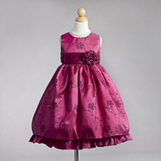 Flower Girl Dresses in Striking Colors of Fuchsia or Purple with Metallic Threading and Sequins that Transform into Flowers and Vines with Bold Flower and Sash that Ties at Back.  Beautiful! Available in Sizes 2T, 3T and 4T (Also available in size 5/6, Orange and Brown in Sizes 5/6, 7/8, 9/10)  by Crayon Kids