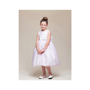 This beautiful ribbon stripe dress comes with pinned flower with pearl and rhinestone center attached to the sash that ties in back.  The white is great for a First Communion dress!  Available in white and pink in sizes 5/6 and 7/8. Runs a bit big. See also Toddler Girl (pink). Made in the USA by Crayon Kids