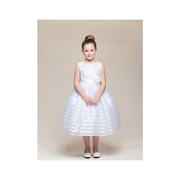 This beautiful ribbon stripe dress comes with pinned flower with pearl and rhinestone center attached to the sash that ties in back.  The white is great for a First Communion dress!  Available in white and pink in sizes 5/6 and 7/8. See also Toddler Girl (pink). Made in the USA by Crayon Kids
