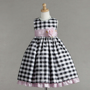 Special Occasion Dress by Crayon Kids, Pretty Dress in Black and Silver Gingham with Pink Sash with Flower that Ties in Back. Pink Ruffled Skirt Underneath. So Cute! Available in Sizes 5/6, Tween Girl 7/8 and 9/10 (Dress is Quite Long)