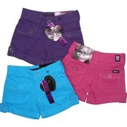 Girls Shorts Sizes 4-6X - Stylish Girls Cotton Twill Shorts with Silver Threading on Pockets.  Shirred Front Pockets.  Back Pockets are Mini Cargo Pockets. Belt Loops and Sewn Rolled-Up Hem with Button Tabs.  by Cutie Patootie  Available in Hot Pink, Purple and Turquoise in Sizes 4, 5, 6 and 6X