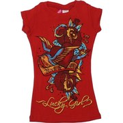 Glrls Tees Sizes 4-14  - Colorful Girls Printed Tee Shirt with Rock & Roll and Lucky Girl with Colorful Roses.  Goes Great with Jeans and Shorts!  Available in Red in Sizes 4, 6, 8, 10, 12 and 14 by Cutie Patootie