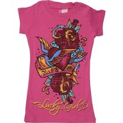 Girls Tops Sizes 4-14, Colorful Girls Printed Tee Shirt with Rock & Roll and Lucky Girl with Colorful Roses.  Goes Great with Jeans and Shorts!  Available in Hot Pink in Sizes 4, 6, 8, 10, 12 and 14  by Cutie Patootie