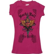 Glrls Tops Sizes 4-14 - Colorful Girls Printed Tee Shirt with Rock & Roll and Free Spirit and Heart and Thorns.  Goes Great with Jeans and Shorts!  Available in Fuchsia in Sizes 4, 6, 8, 10, 12 and 14 by Cutie Patootie