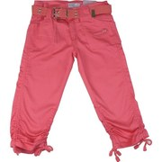 Tween Girl Sateen Capris with Four Pockets, Cotton Belt and Toggles to Shorten and Lengthen the Capri Depending on her Mood!  Available in Coral, Lilac and Mint in Sizes 7, 8, 10, 12, 14 and 16.  Great Spring Colors!  by Crest Jeans