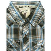 Excellent Boys Short Sleeve Collared Shirt with Breast Pockets and Round Tail in Brown, Blue and Lt. Brown Plaid with Snap Buttons.  Designed in Huntington Beach, CA.  Available in Sizes SM (7/8), MD (10/12), LG (14/16) and XL (18-20). Goes great with dress pants or jeans!