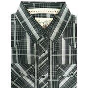 Black Tween Boys Short Sleeve Shirt with Breast Pockets and Round Tail in Black and Grey Plaid with Snap Buttons.  Designed in Huntington Beach, CA.  Available in Sizes SM (7/8), MD (10/12), LG (14/16) and XL (18-20). Pair with dress pants or jeans for a complete look!