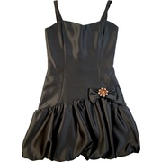 Cute little black dress for tween girls with contour shape, bubble skirt and bow with removable brooch.  Available in sizes 7, 8, 10, 12 and 14