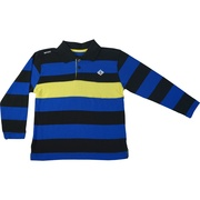 Bright boys polo shirt in stripes of cobalt blue, black and yellow with large screen print on back.  Available in sizes 4, 5/6, 7 and 7X by Enyce