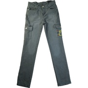 Cute Girl Denim Jeans with Embroidery on one of the two cargo pockets.  Available in Sizes 7-16 in Grey and Black * Note - the black jean is more of a stretch jean, the grey wash is a regular jean