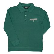 Boys Polos by Filia & Filius - Great Long Sleeved Polos in 100% Cotton with Grey Trimmed Faux Button-Tab Pocket and FF Tab. Goes Great with Jeans! Available in Blue and Green in Sizes 3/4 and 5/6