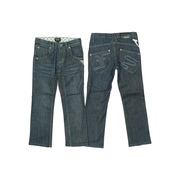 Stylish Girls Denim Jeans by Filia & Filius Sizes 3/4-5/6 with Adjustable Waist,  Belt Loops, 5 Pockets, Star Rivets, Threaded Rope Design on One Back Pocket, FF Logo on the Other.  Goes Great with any of the FF Tops!  Available in Sizes 3/4 and 