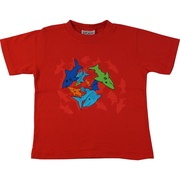 Great shark screen print tee in red from Flap Happy. Available in sizes 5, 6 and 7 (Toddler sizes also available). Made in the USA!