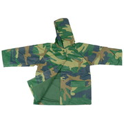 Toddler Boy Raincoats by Foxfire - A Rainy Day Never Looked as Good as with This Cute Toddler Boy Raincoat in Green, Navy and Brown All-over Camo Print. Green Cotton Lined, Snap Front and Two Pockets.  Soft and Durable!  Available in Sizes 2T, 3T and 4T