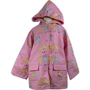 Toddler Girl Raincoats by Foxfire - A Rainy Day is Fun with This Adorable Toddler Girl Raincoat in Pink with All-over Pony Print.  Cotton Lined, Snap Front and Two Pockets, One with 3D Pony Patch.  Soft and Durable!  Available in Sizes 2T, 3T and 4T