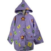 Toddler Girl Raincoats by Foxfire - Adorable Toddler Girl Raincoat in Lilac with All-over Flower/Butterfly Print.  Cotton Lined, Snap Front and Two Pockets, One with 3D Butterfly.  A Fun Way to Stay Dry and Warm!  Available in Sizes 2T, 3T and 4T