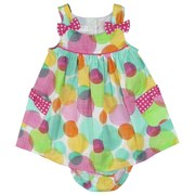 Infant Girl Dresses by Bonnie Jean - Vibrant Dress Set  in Colorful Circle Print with Two Large Pockets with Hot Pink Bow Accents, Two-Button Closure at Back. Matching Panty. So Cute!  Available in Sizes 12, 18 and 24 Months.  See Matching Sister Dress in Toddler Girl.