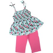 Girls Short Sets Sizes 4-6X, Sweet Capri Set with Colorful Floral Top in Aqua, Brown and Pinks, Elastic Shirred Bodice, Spaghetti Straps and Lettuce Hem. Coordinating Pink Capris.  Pretty!  Available in Sizes 4, 5, 6 and 6X.  See Sister Set in Toddler Girl.  by Greggy Girl