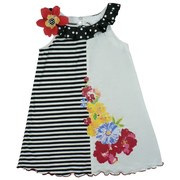 Girls Summer Dresses Sizes 4-6X  - Vibrant Knit Cotton Dress with Split Design; Black and White Stripes and White with Colorful Flower Screen Print and Sequin Accents. Black and White Polka Dot Ruffled Collar with 3D Flower and Polka Dot Button Finish off the Look.  Adorable!  by Bonnie Jean Available in Sizes 4, 5, 6, and 6X. See Sister Dress in Toddler Girl