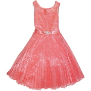 This beautiful dress has a lace overlay with a satin waistband that ties in back, heavily pleated skirt that fans out with the help of a crinoline slip. The removable fashion pin adds a touch of sparkle. Elegant!  Great for Weddings, Easter or any Special Occasion!  Available in Baby Pink and Coral in Sizes 8, 10, 12, 14 and 16 (runs small, may need to order next size up)