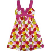 Girls Dresses 7-16 by Bonnie Jean - Vibrant Cotton Knit Dress in Colorful Circle Pattern with Wide Straps, Bow Accent, Elastic Shirred Back with Tie.  She