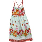 Tween Girl Dresses by Bonnie Jean - Sweet Cotton Dress in Aqua Stripe and Floral Print in Vibrant Orange, Red and Pink Colors with Criss-Cross Straps, Elastic Shirred Back with Ties.  Very Cute!  Available in Sizes 7, 8, 10, 12, 14 and 16.